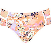 Pink floral print side split bikini bottoms