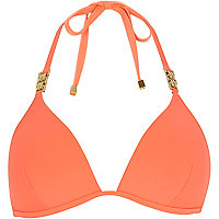 Orange jewel strap padded bikini top