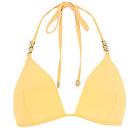 Mango orange chain strap moulded bikini top