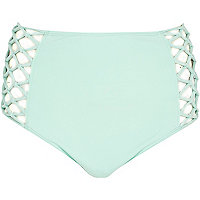 Aqua high waisted bikini bottoms