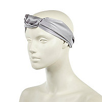 Grey satin turban style head band