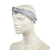 Grey satin turban style head band