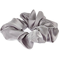 Grey satin hair scrunchie