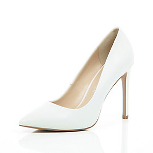 White leather point court shoes