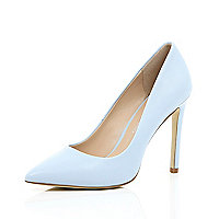 Blue leather court shoes