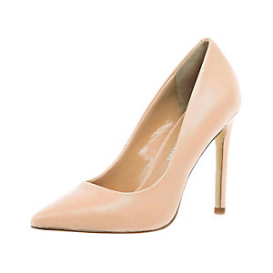 Pink leather court shoes