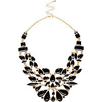 Black enamel statement necklace