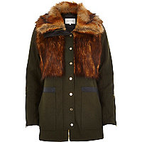 Khaki faux fur woolen jacket