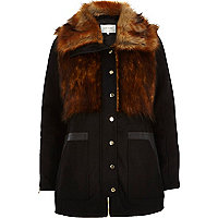 Black faux fur woolen jacket
