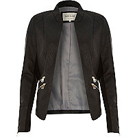 Black fitted leather-look zip side jacket