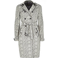 Black snake print traditional trench coat