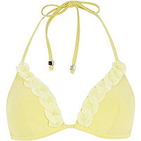 Yellow shell trim moulded triangle bikini top