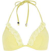 Yellow shell trim moulded triangle bikini top