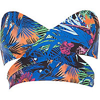 Blue tropical print bandeau bikini top