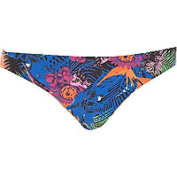 Blue tropical print strappy bikini bottoms