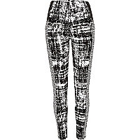 White graphic print contrast panel leggings