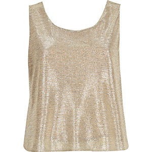 Gold metallic open back top
