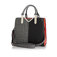 Black split front herringbone tote bag