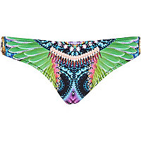 Black tropical print bikini bottoms