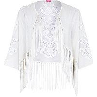 Cream fringed cropped kimono
