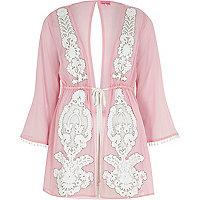 Pink embellished drawstring kaftan