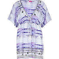 Blue stripe embellished kaftan