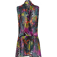 Blue tropical print wrap dress