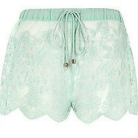 Aqua lace drawstring shorts