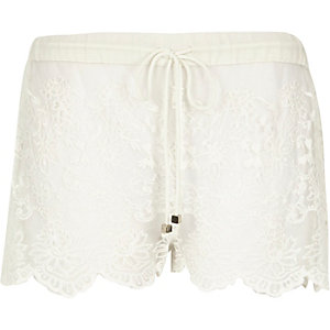 Cream lace drawstring shorts
