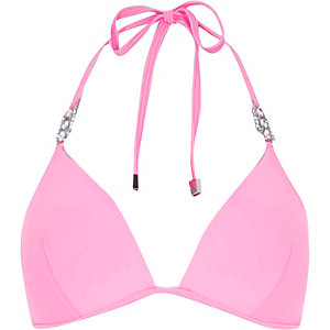 Pink jewel strap padded bikini top