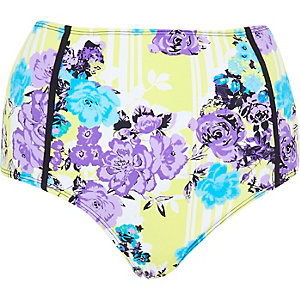 Yellow floral high waisted bikini bottoms
