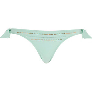 Aqua sequin pleated tie side bikini bottoms
