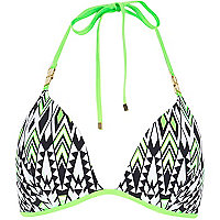 Lime geo print moulded triangle bikini top