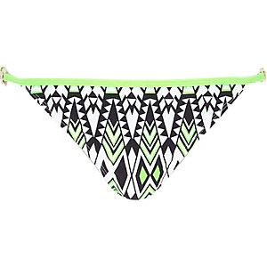 Lime geo print strap bikini bottoms