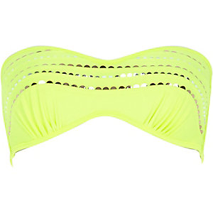 Lime sequin pleated balconette bikini top