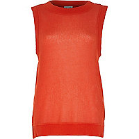 Red open weave loose fit knitted top