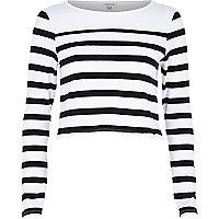 White stripe long sleeve crop top