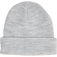 Light grey knit beanie hat