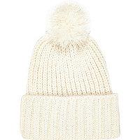 Cream chunky knit beanie hat