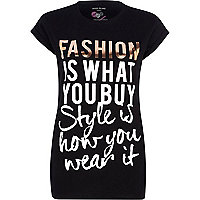 Black fashion style print charity t-shirt