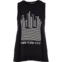 Black New York city print swing tank top