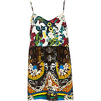 Green botanical print fringed cami dress