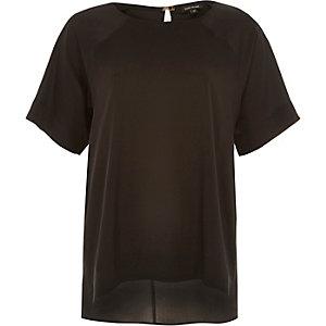 Black oversized slit back t-shirt