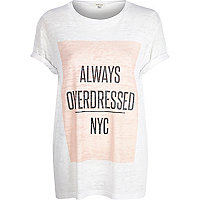 White always overdressed NYC print t-shirt