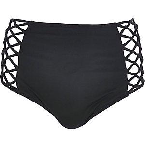 Black high waisted bikini bottoms