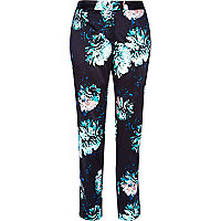 Black floral print cigarette pants