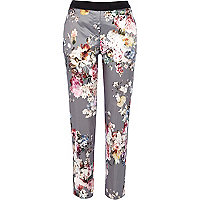 Grey floral print satin trousers