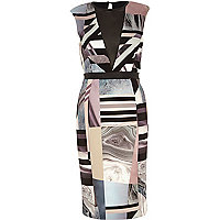 Beige graphic print deep plunge V neck dress