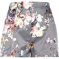 Grey floral print high waisted satin shorts