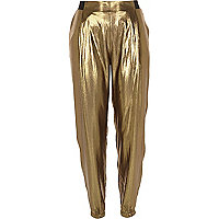 Gold metallic joggers